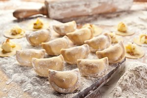Vareniki (dumplings) with potatoes