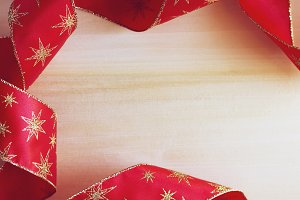 Christmas red ribbon frame.