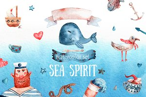 Sea Spirit - Watercolor Clip Art Set