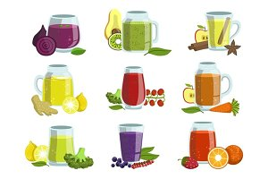 Fresh Smoothie Icon Set