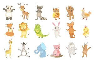 Humanized Animals Set Of Artistic Funny Stickers