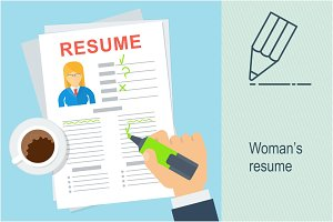 Woman resume writing