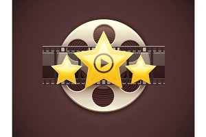 Online cinema icon logo concept