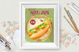 Hot dog vector poster