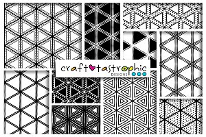 B&W Triangles Seamless Patterns