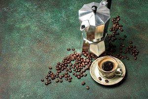 Espresso maker cup coffee beans