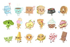Different Food Childish Characters Emotion Set