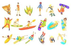 Extreme Sports Illustration Set