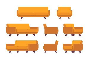 Set of retro yellow sofa and armchair