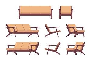 Set of retro cream sofa and armchair