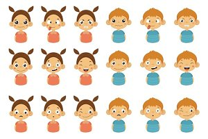 Young kids Portrait Icons With Different Emotions