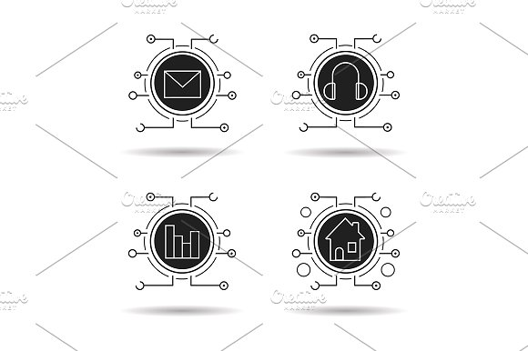 Cyber Technology 4 Icons Vector