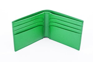 Green leather wallet isolated