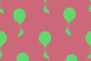 Man at Hot Air Balloon Fantasy Drawing Pattern
