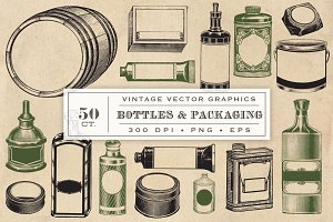 Vintage Bottles & Packaging Graphics