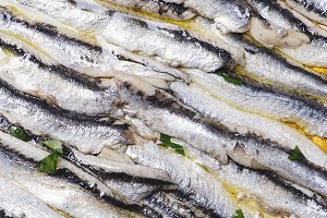Close-up of delicious marinated anchovies with olive oil and vinegar on brown wooden table. Horizontal shoot.