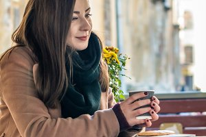 beautiful girl drinking coffee