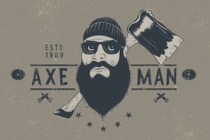 Bearded lumberjack with ax