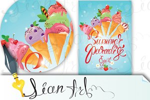 Greeting card with ice cream cones