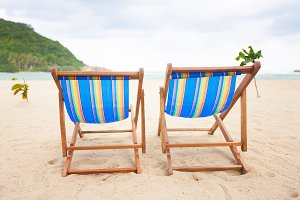 Beach chairs at sea front