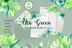 Watercolor Design Kit New Green