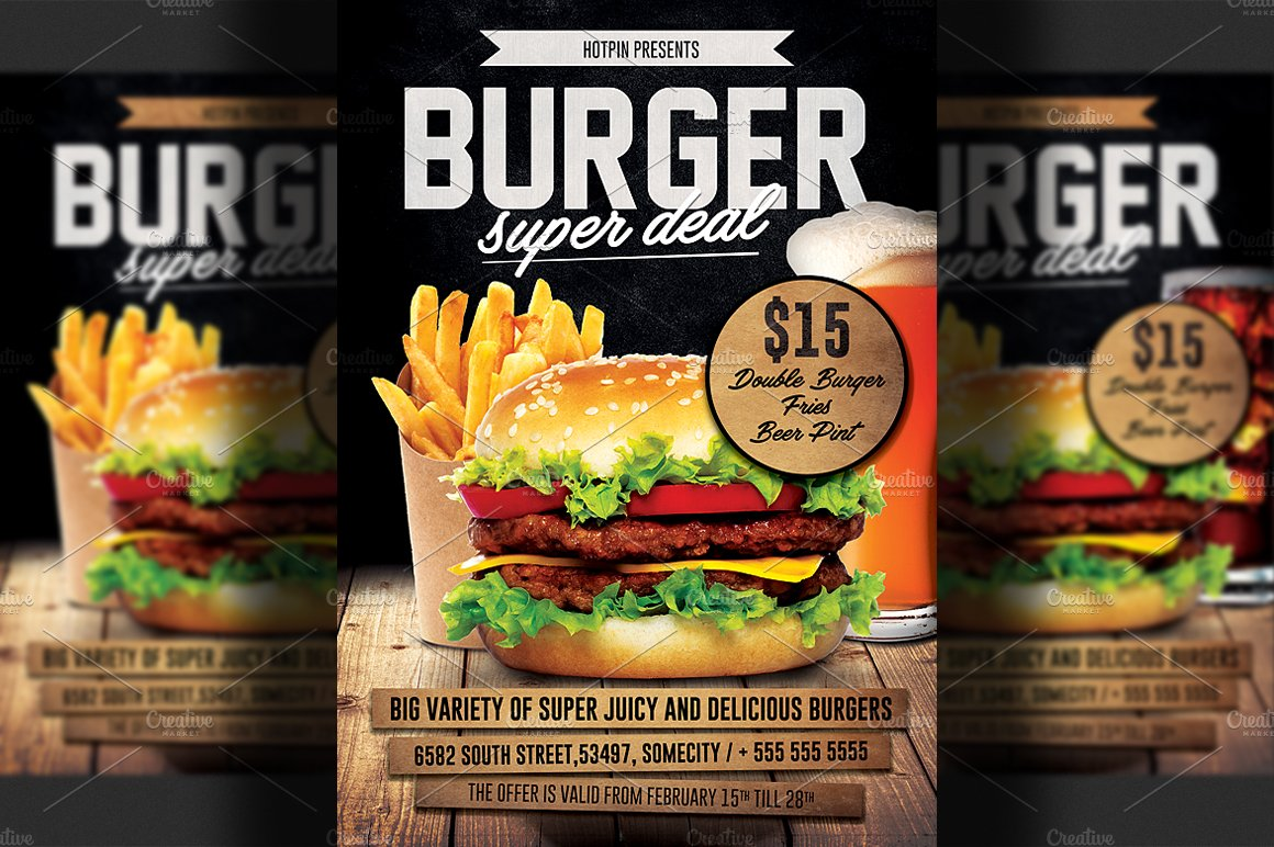hotpin creative market burger promotion flyer template