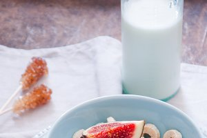 Bowl of Oat Cereal and Figs