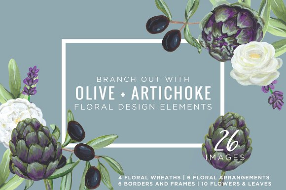 Artichoke & Olive Floral De-Graphicriver中文最全的素材分享平台