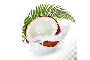 Coconut in a milk splash