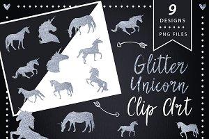 Silver Glitter Unicorns