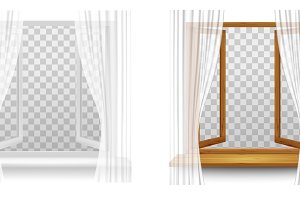 Window frames with curtains