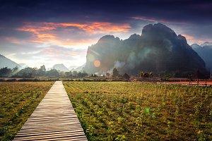 Laos, Vang Vieng, sunset time