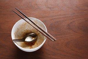 Dirty empty bowl