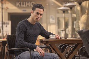 man outdoors angry pissed off cafe