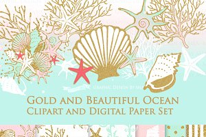 Seashell Clipart+Pattern set