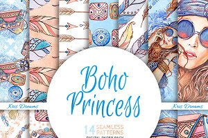 Boho Princess Digital Paper
