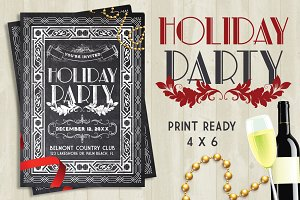 Retro Holiday Party Chalk Flyer