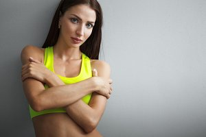 attractive fitness woman, lifestyle portrait