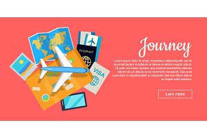 Journey Conceptual Flat Style Vector Web Banner