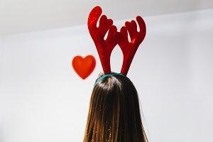 Woman with reindeer ears