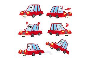 Cute and funny red car, automobile character showing different emotions