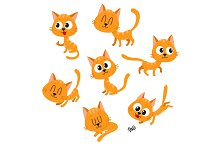 Cute and funny red cat character showing different emotions