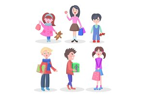 Shopping Children Flat Vector Characters Set