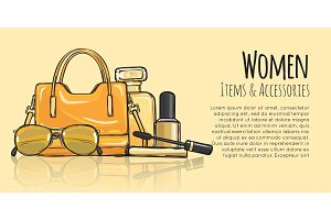 Women Items and Accessories. Yellow Female Objects