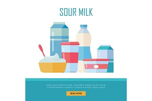 Set of Traditional Dairy Products from Sour Milk