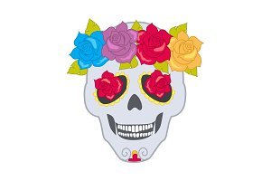 Human Skull and Flower Wreath. Isolated Cranium
