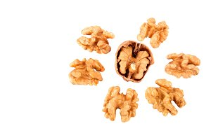 Walnuts without shells isolated