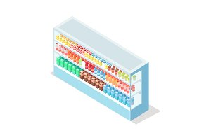 Milky Food in Groceries Showcase Isometric Vector