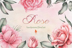 Rose, Watercolor collection