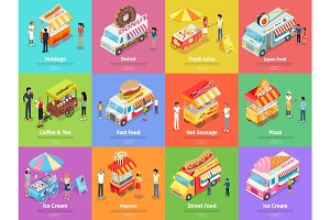 Street Food Stores Isometric Vector Banners